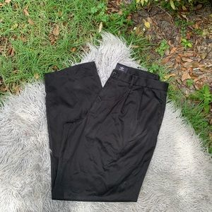 Dockers Size 38x34 Solid Black Flat Front Pants
